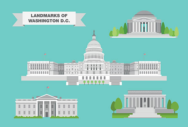 Washington Landmarks The most iconic landmarks of Washington, DC in detailed vector drawings. white house stock illustrations