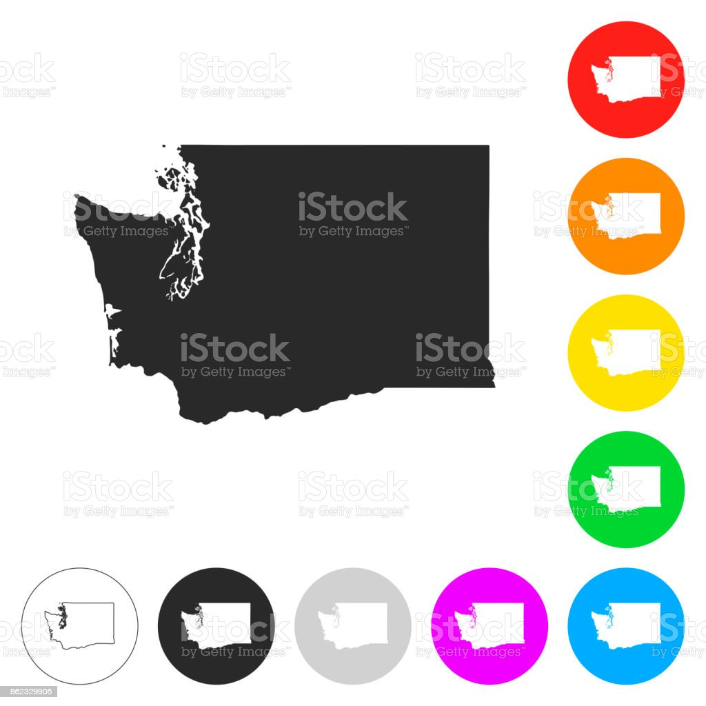 Washington map - Flat icons on different color buttons vector art illustration
