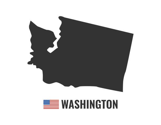 Washington map isolated on white background silhouette. Washington USA state. American flag. Vector illustration. Washington map isolated on white background silhouette. Washington USA state. American flag. Vector illustration. washington state stock illustrations