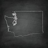 Washington Map on Blackboard - Chalkboard