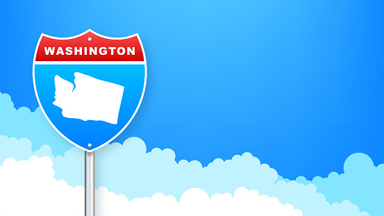 Washington map on road sign. Welcome to State of Washington. Vector illustration.