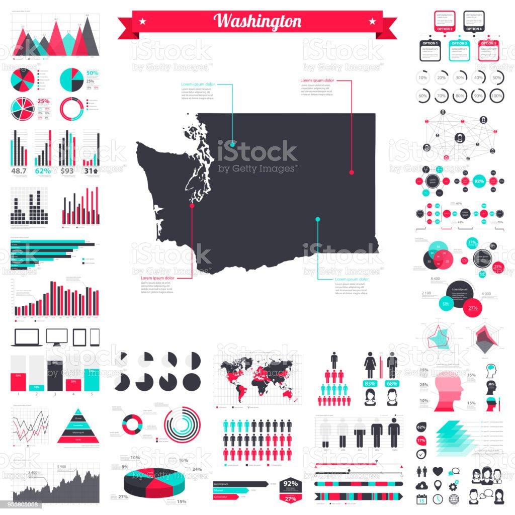 Washington map with infographic elements - Big creative graphic set