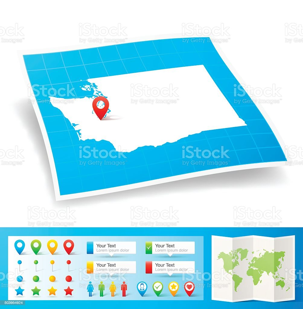 Washington Map with location pins isolated on white Background vector art illustration