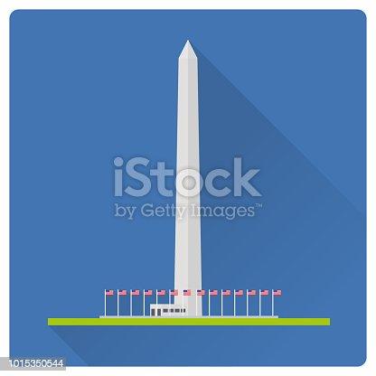 Flat design long shadow vector illustration of the Washington Monument at Washington, D.C, United States of America