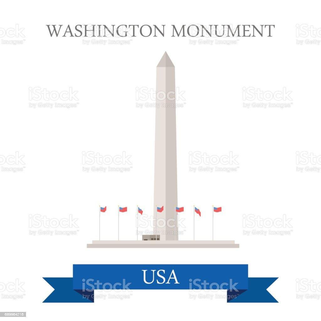 Washington Monument United States. Flat cartoon style historic sight...
