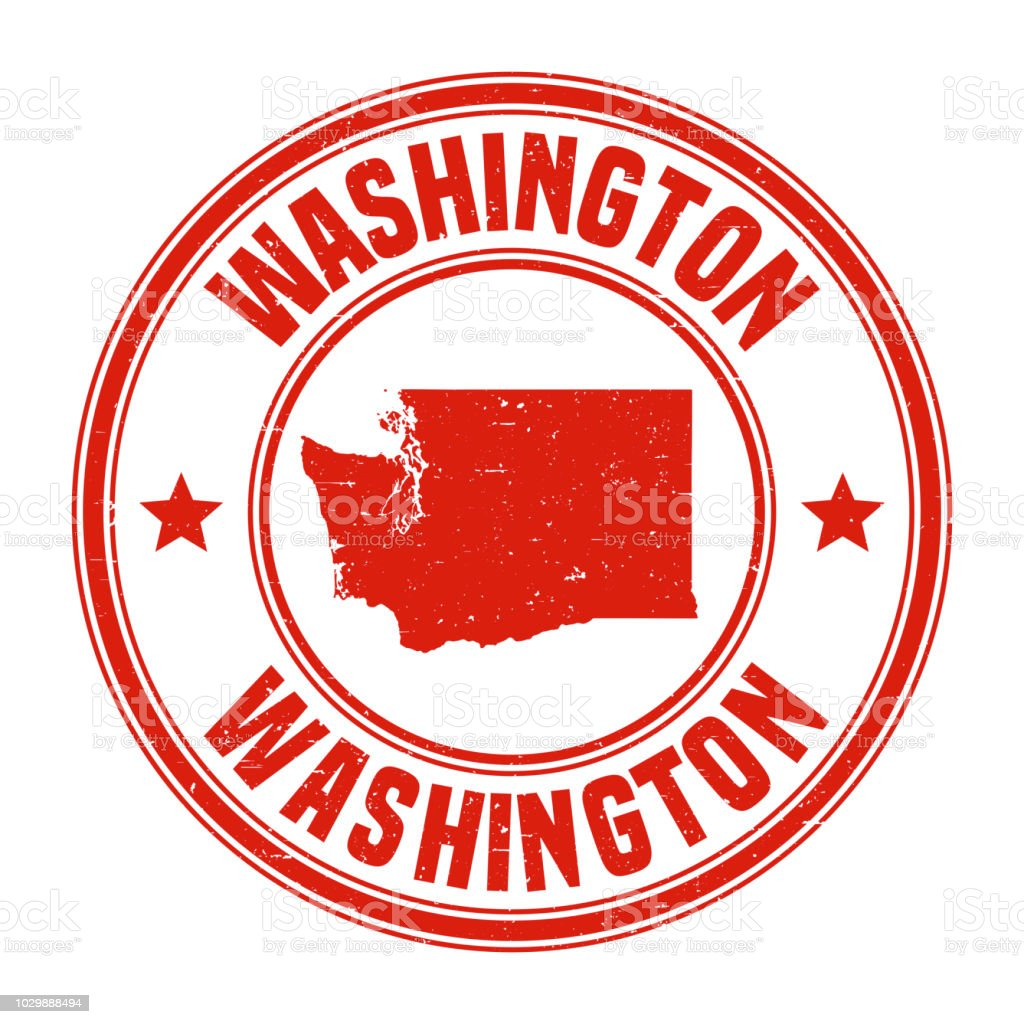 Washington Red Grunge Rubber Stamp With Name And Map Stock ...