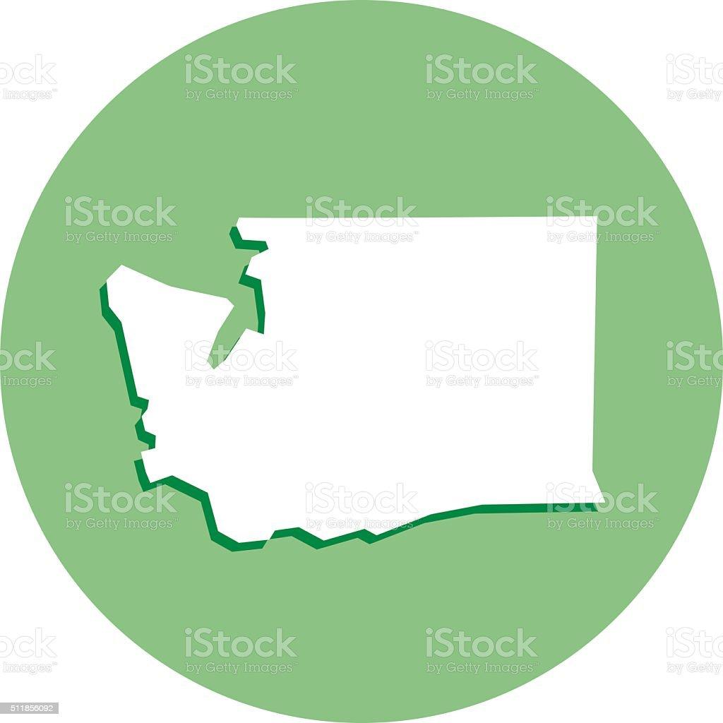 Washington Round Map icon vector art illustration