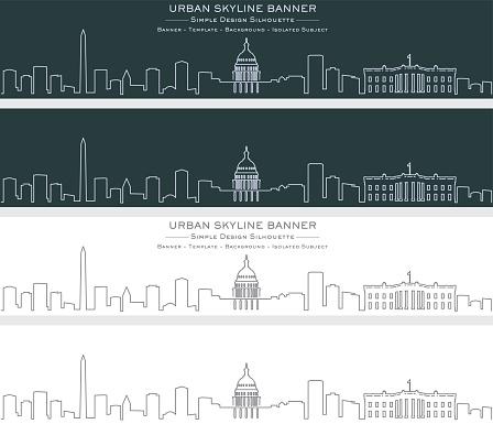 Washington Single Line Skyline Banner