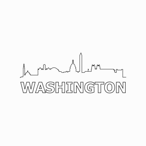 Washington skyline and landmarks silhouette black vector icon. Washington panorama. United States of America. USA Washington skyline and landmarks silhouette black vector icon. Washington panorama. United States of America. USA washington dc stock illustrations
