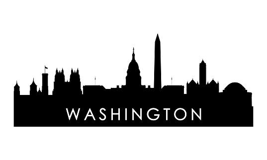 Washington skyline silhouette. Black Washington city design isolated on white background.