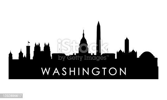 istock Washington skyline silhouette. Black Washington city design isolated on white background. 1252895617
