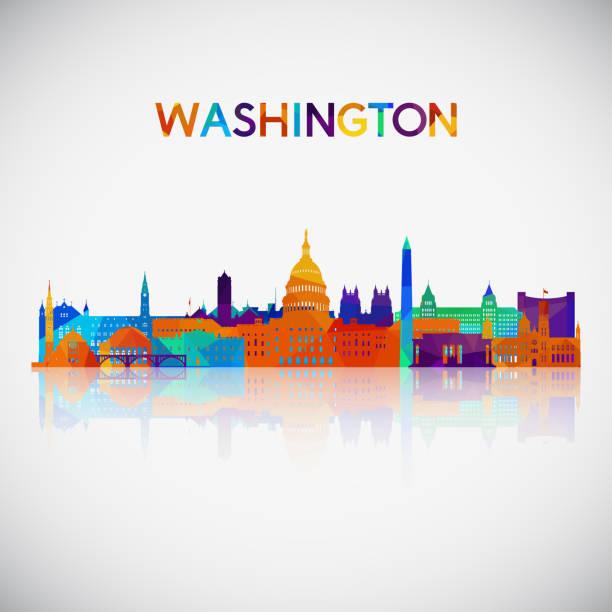stockillustraties, clipart, cartoons en iconen met washington skyline van silhouet in kleurrijke geometrische stijl. symbool voor uw ontwerp. vectorillustratie. - monument