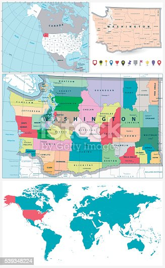 Washington State Administrative Map And Large Navigation Set Stok ...