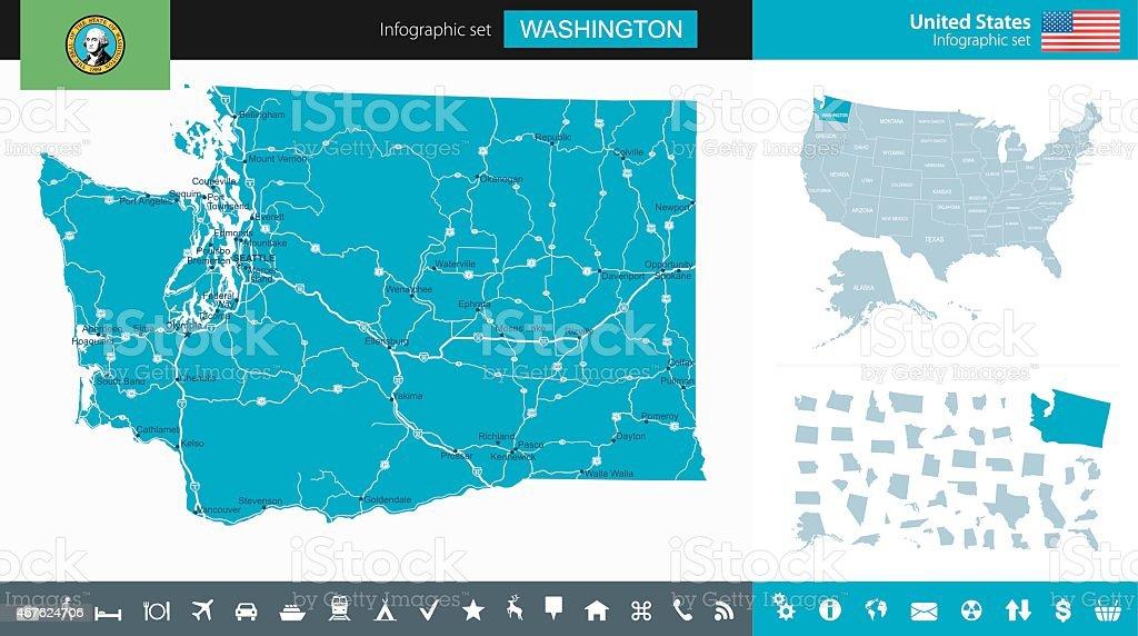 Washington State and USA - infographic map vector art illustration