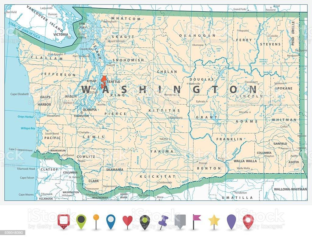 Washington state detailed map and flat icon set vector art illustration