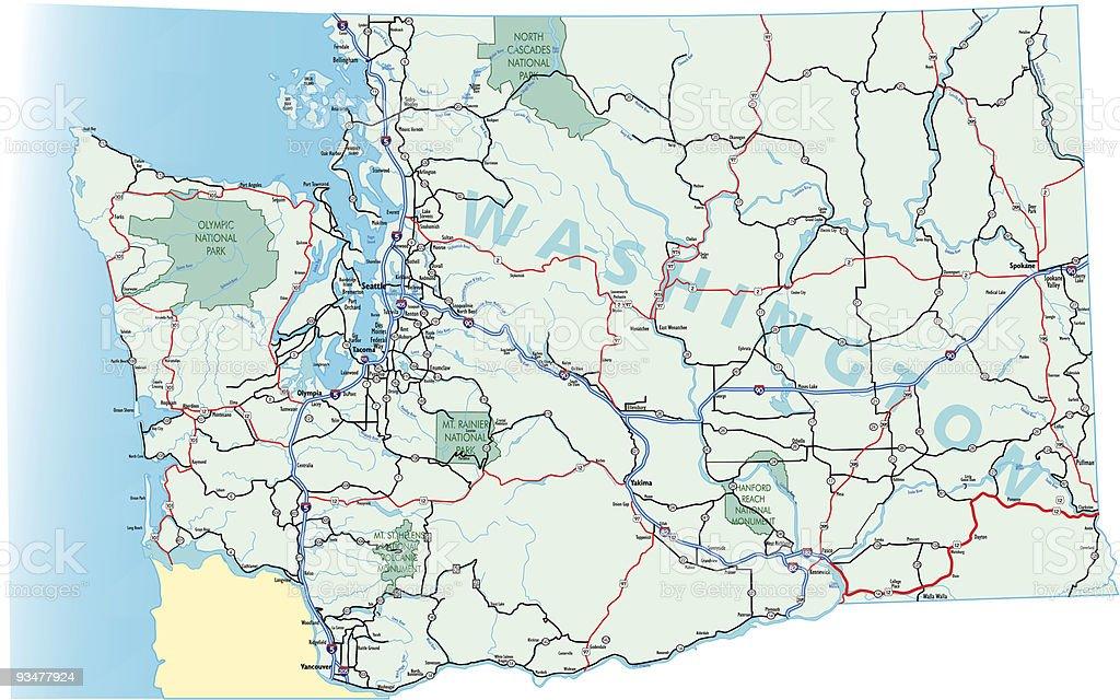 Washington State Interstate Map vector art illustration