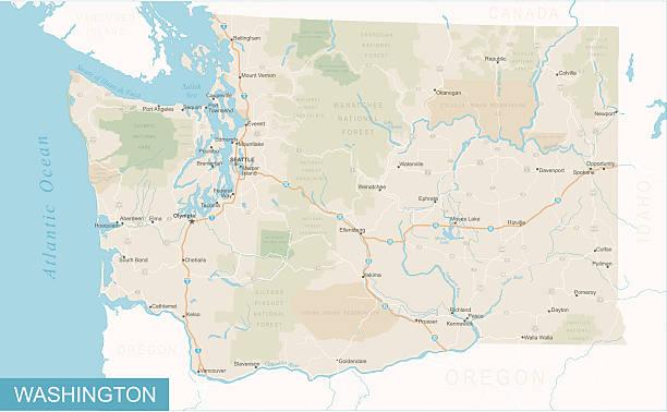 Washington State Map - Illustration Highly detailed map of Washington state (USA). washington state stock illustrations