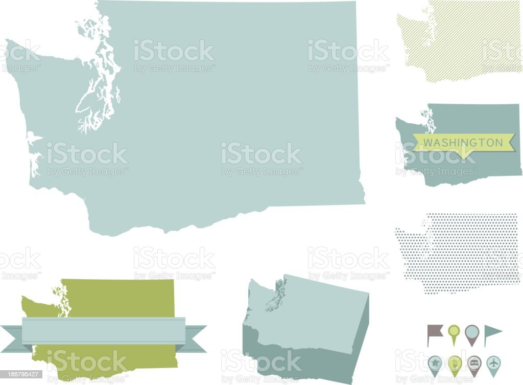 Washington State Maps vector art illustration
