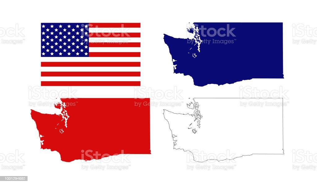 Ilustración de Mapas De Estado De Washington Con La Bandera De ...