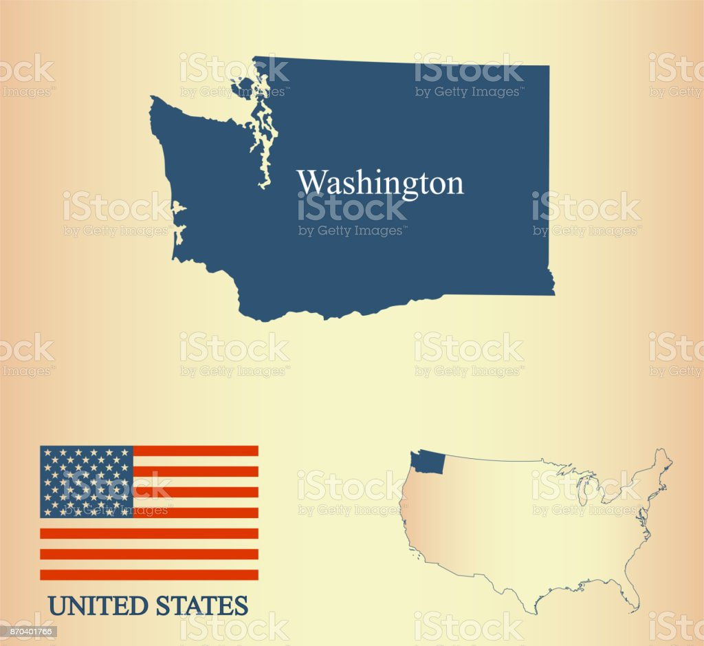 Washington State Of USA Map Vector Outline Illustartion And United States Flag In A Creative Old