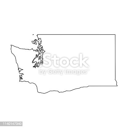 Washington, state of USA - solid black outline map of country area. Simple flat vector illustration.