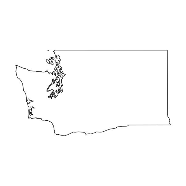 Washington, state of USA - solid black outline map of country area. Simple flat vector illustration Washington, state of USA - solid black outline map of country area. Simple flat vector illustration. washington state stock illustrations