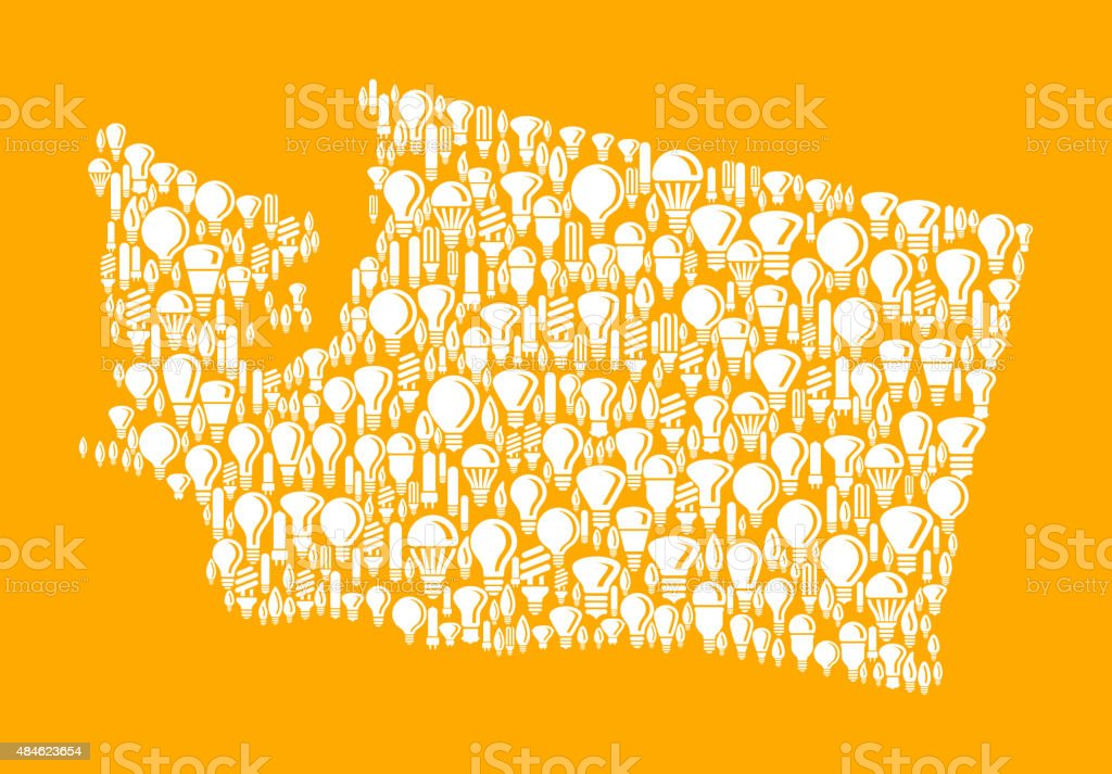 Washington State on Vector Lightbulb Pattern Background