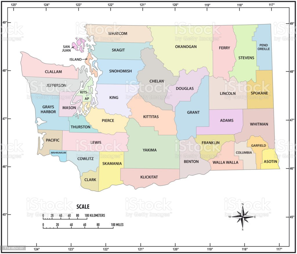 washington state outline administrative and political vector map in color