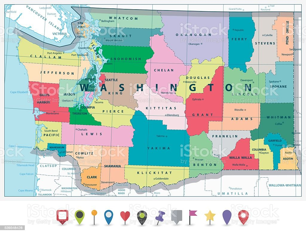 Washington State Political Map And Flat Icon Set Stock Vector Art - Montana political map