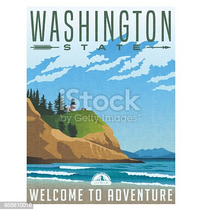 Washington State travel poster or sticker. Vector illustration of rugged shoreline and lighthouse. Cape Disappointment State Park.