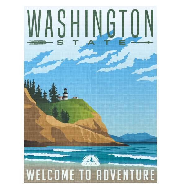 Washington State travel poster. Vector illustration of rugged shoreline and lighthouse Washington State travel poster or sticker. Vector illustration of rugged shoreline and lighthouse. Cape Disappointment State Park. rocky coastline stock illustrations