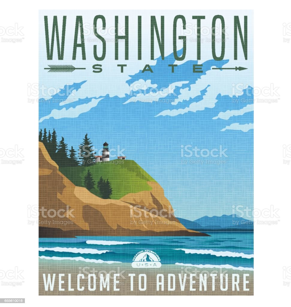 Washington State travel poster. Vector illustration of rugged shoreline and lighthouse vector art illustration