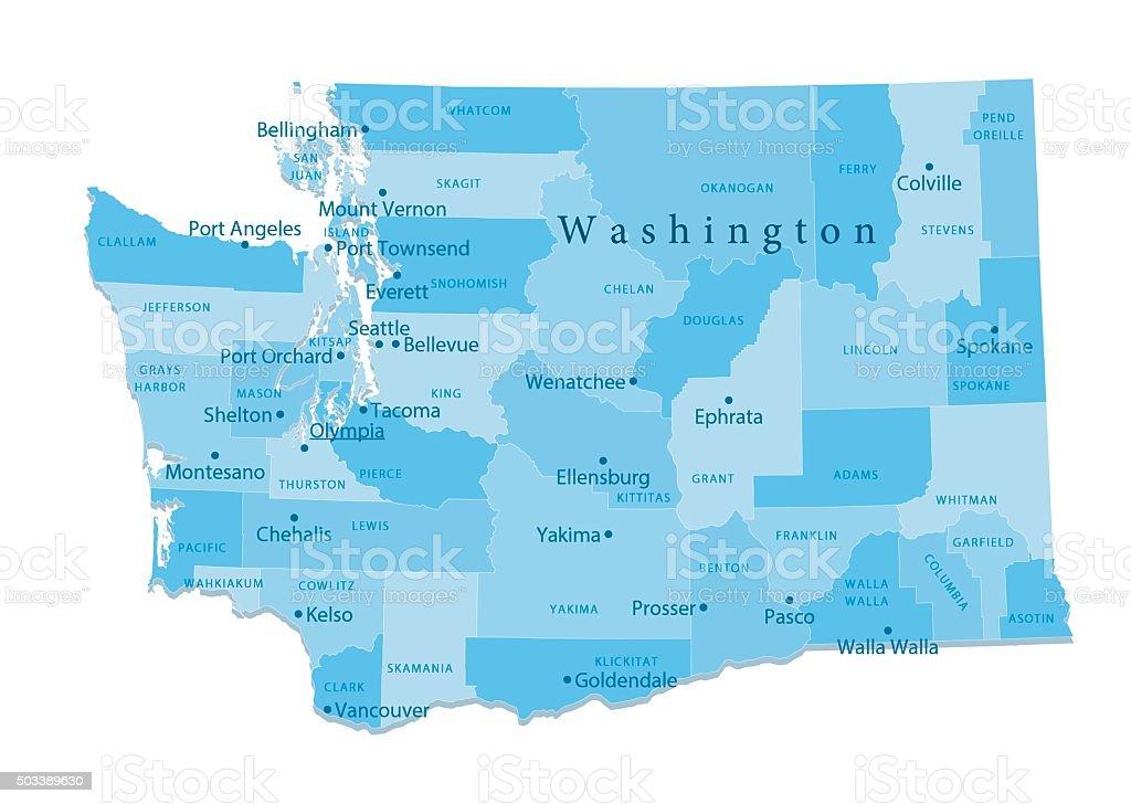 Washington State Vector Map Isolated vector art illustration