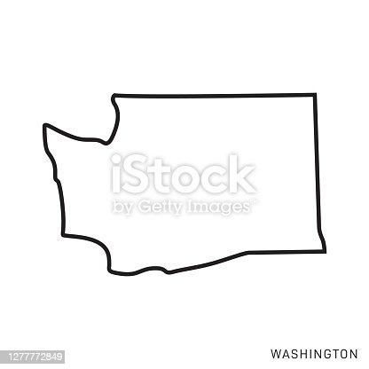 istock Washington - States of USA Outline Map Vector Template Illustration Design. Editable Stroke. 1277772849
