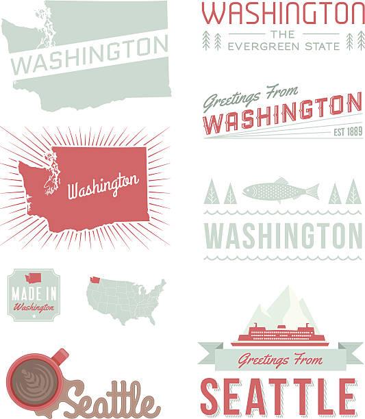washington typography - seattle stock illustrations