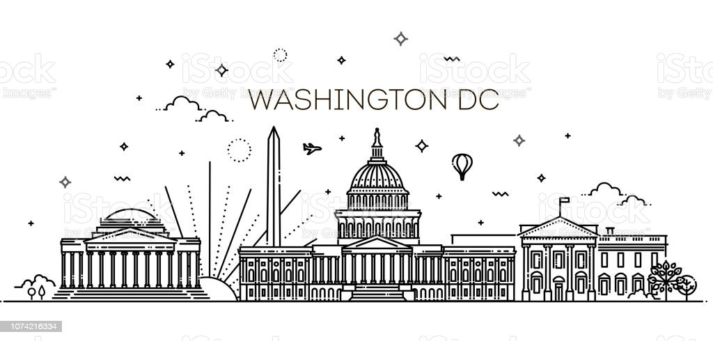 Washington USA Skyline und Wahrzeichen silhouette – Vektorgrafik