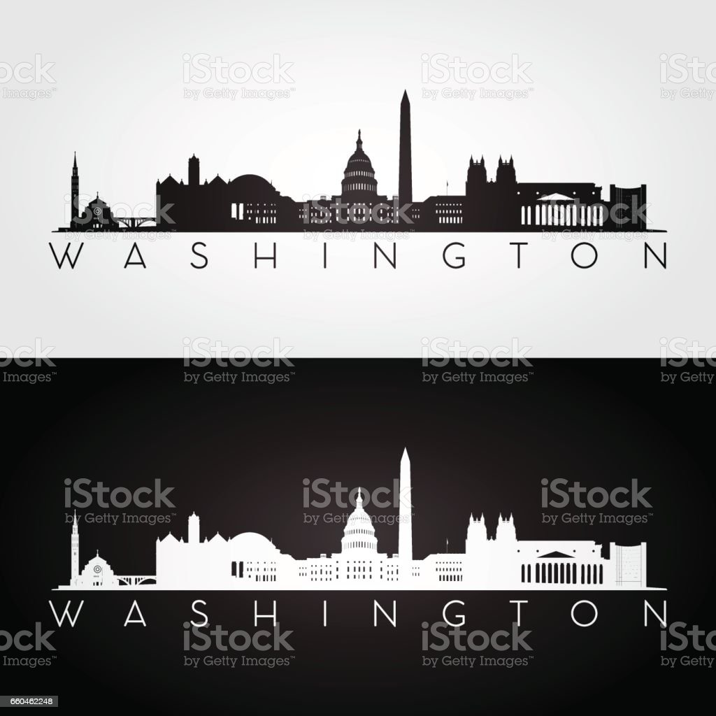 Washington USA skyline and landmarks silhouette vector art illustration