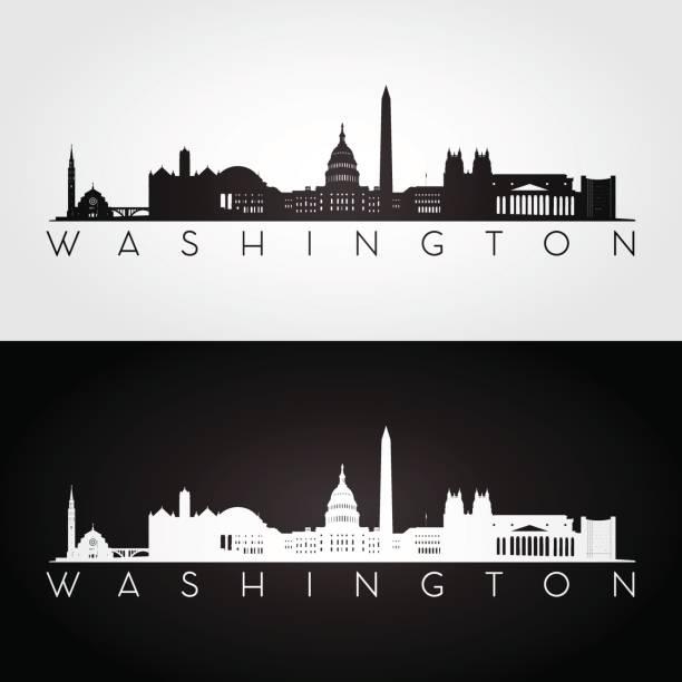 stockillustraties, clipart, cartoons en iconen met washington usa skyline en bezienswaardigheden silhouet - monument
