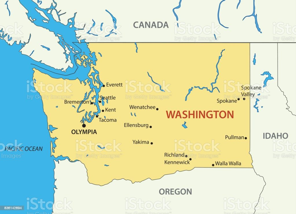 Washington (state) - vector map vector art illustration