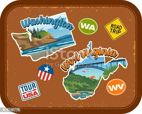 Washington, West Virginia travel stickers with scenic attractions and retro text. State outline shapes. State abbreviations and tour USA stickers. Vintage suitcase background