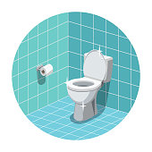 Washroom interior with clean and shiny toilet bowl and toilet paper.  Vector illustration