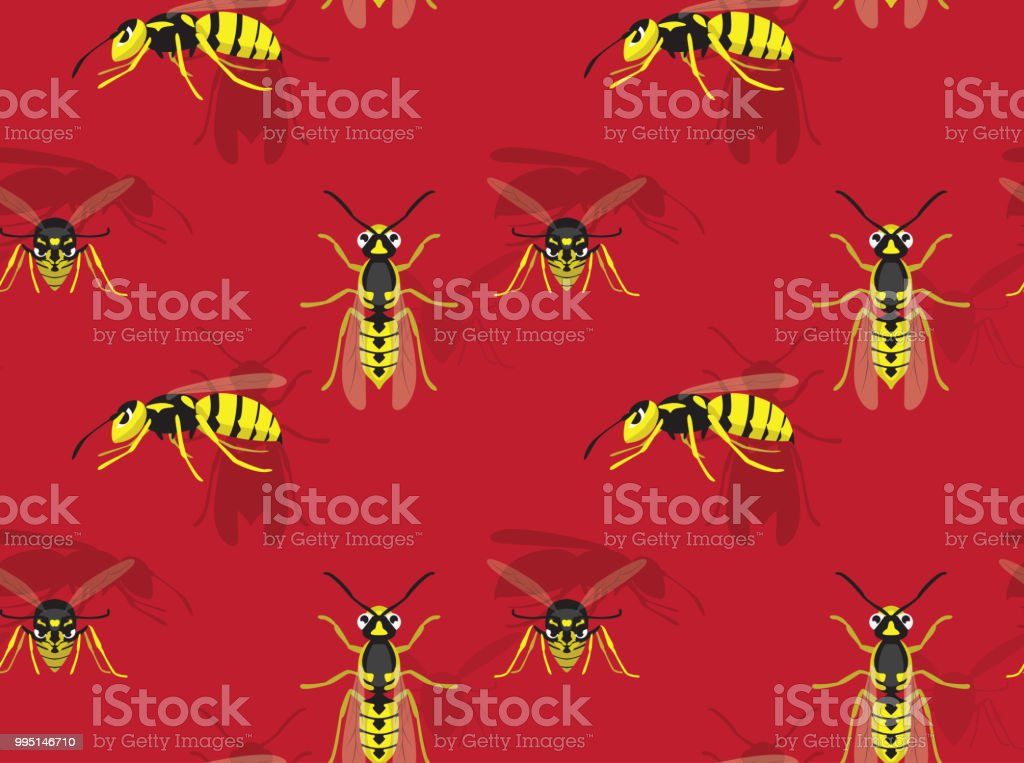 Wasp Background Seamless Wallpaper vector art illustration