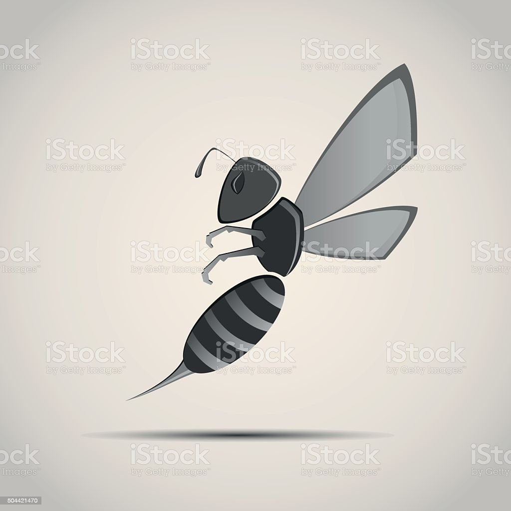 Wasp, bee with two wings and sharp sting vector art illustration