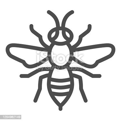 istock Wasp line icon, Insects concept, bee sign on white background, Wasp insect icon in outline style for mobile concept and web design. Vector graphics. 1254982149