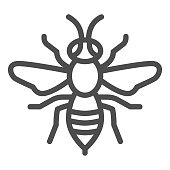 Wasp line icon, Insects concept, bee sign on white background, Wasp insect icon in outline style for mobile concept and web design. Vector graphics