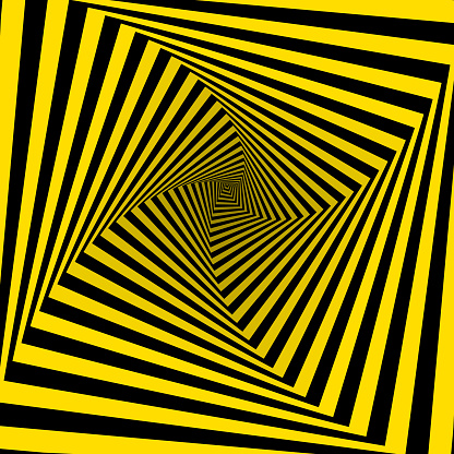 Wasp polygon tunnel spinning. Four sides. 3D Vector