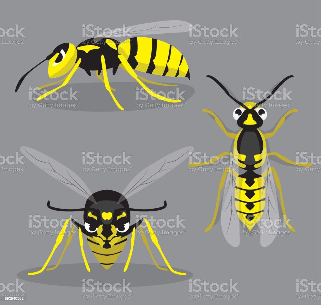 Wasp Poses Cartoon Vector Illustration vector art illustration