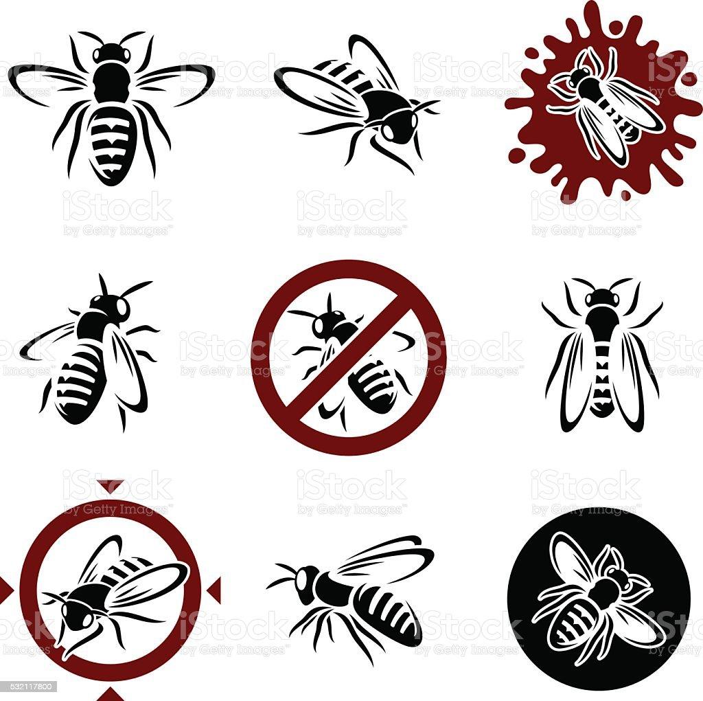 Wasp set. Vector vector art illustration