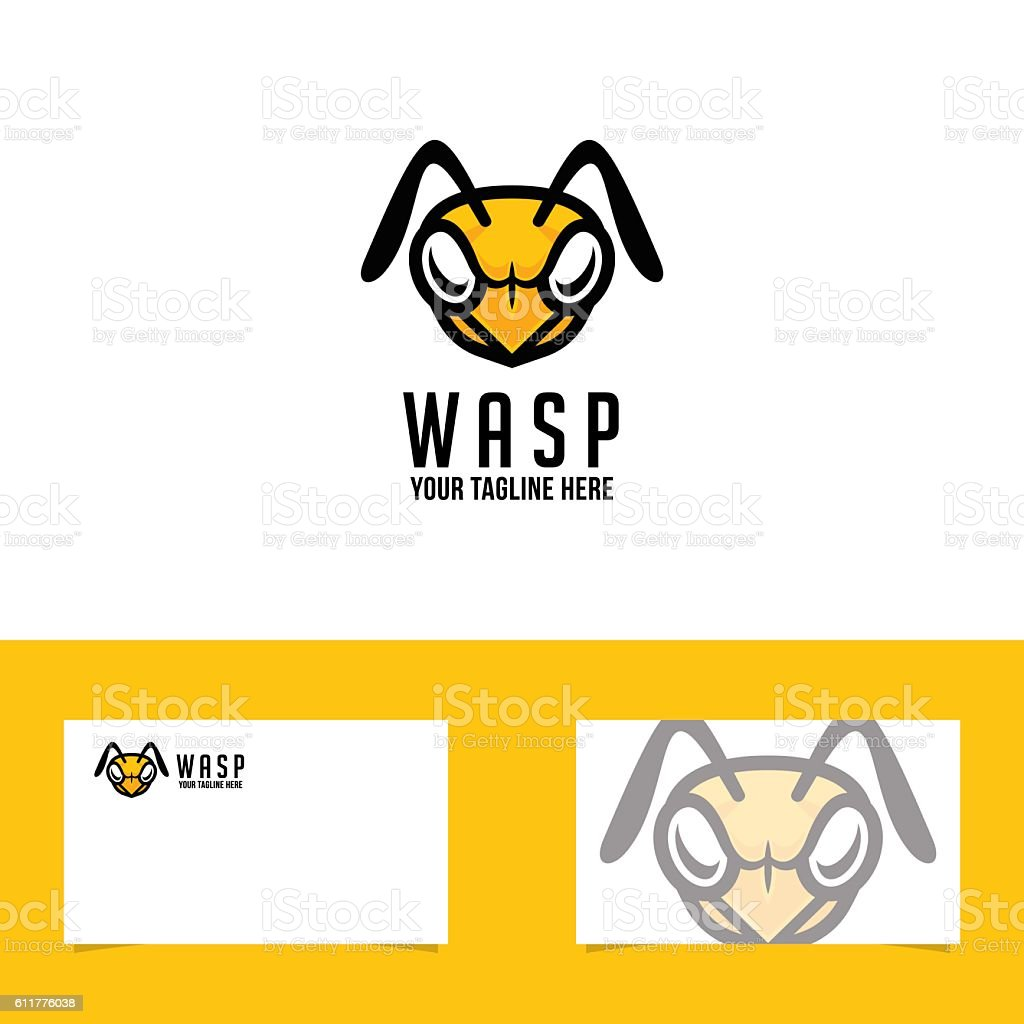 Wasp Symbol With Business Card Template vector art illustration