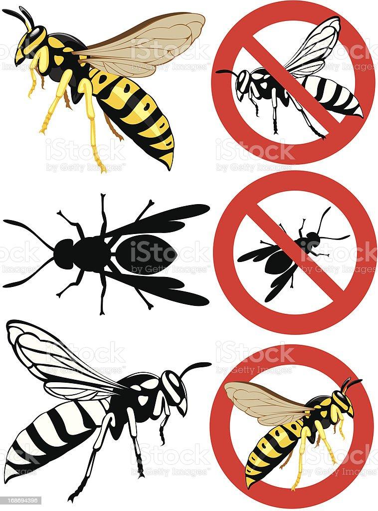 wasp - warning signs vector art illustration